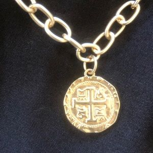 "Jewelry - NEW Gold Color 18"" Necklace with Coin!"